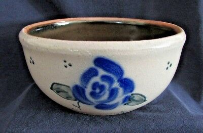 SALMON FALLS STONEWARE POTTERY Cereal Bowl, Blue Floral/Green Dot Design, 2005