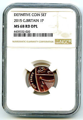2015 Great Britain 1P Ngc Ms68 Rd Dpl Penny Extremely Rare High Grade