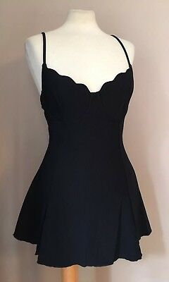 Vintage 90s Adrienne Vittadini Pinup One-Piece Swim Dress Size XS/S Black