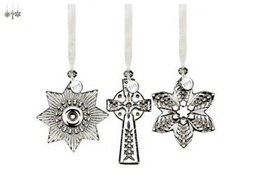 2018 Waterford Waterford  3-Piece Mini Ornament set inlcudes Cross, Snowflake, a