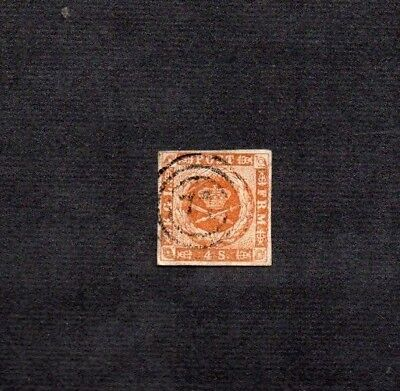 DENMARK.1858. 4 sk BROWN IMPERF.SG No.15.GOOD USED.