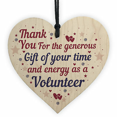 Thank You Gift For Volunteer Colleague Wooden Heart Plaque Friendship Keepsake