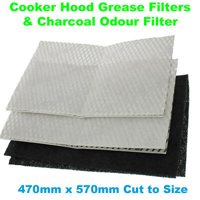 RAM Program 2000 Cooker Hood Grease Filters + Charcoal Odour Filter 7561