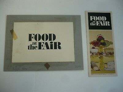 1964-65 New York World's Fair Original Ad Art & Finished Brochure Food At Fair