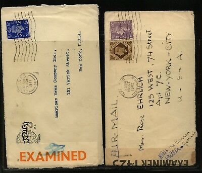 Great Britain 2 censor covers, one orange tape and perfin stamp        MS0921