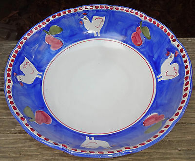 Vietri Solimene Pottery Blue Red Chicken campagna Salad Svg Bowl Hand Painted SH