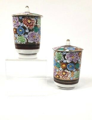 Vintage Japanese Tea Cup Set with Lids - Full Floral Design