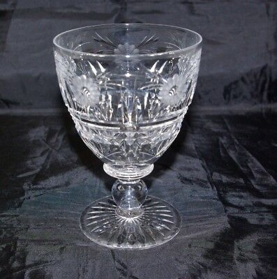 Antique Victorian Cut & Etched Crystal Rummer Goblet Hand Made 19th C Glass