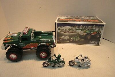 2007 Hess Monster Truck With 2 Motorcycles Toy Gas Station Promo