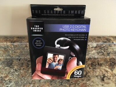 "NIB Sharper Image USB 2.0 Digital Photo Keychain 60 Images 1.5"" Color LCD"