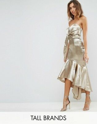 Jarlo Tall Wrap Front Bardot Midi Dress With Fluted High Low Hem, Gold UK 8 £100