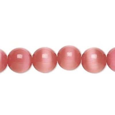 1 Strand Dark Pink Cat's Eye Fiber Optic Glass 10mm Round Grade A Beads
