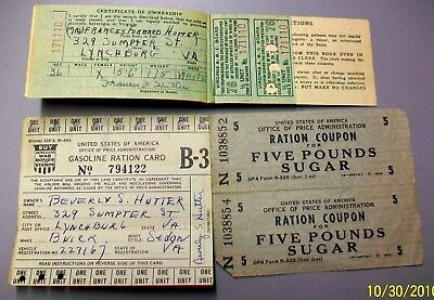 #CS-LY LYNCHBURG VA 1940s WW2 WORLD WAR II LOT OF RATION STAMPS COUPONS + HOLDER
