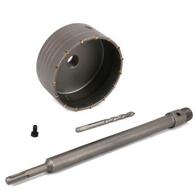 125mm Wall Hole Saw Drill Bit & 350mm Connect Rod Round Shank Kit Use For Cement
