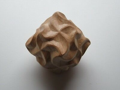 Sacred Geometry Rhombic Dodecahedron Spirals Hand Carved Wood Carving