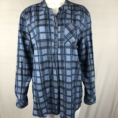 2b0897e9e12bfd Natural Reflections Women's Blouse Size 1X Blue plaid popover Long Sleeves
