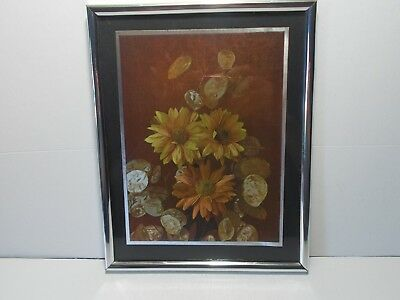 """8-1/4"""" x 10-1/4"""" Matted Shiny Flower Wall Art Picture  (2)"""