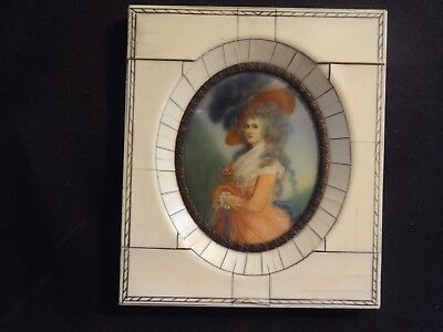 Antique Miniature Hand Painted Female Portrait Ivory Frame Signed c.1816 ex con
