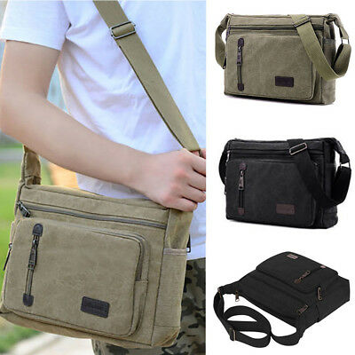 58d5a83225 Mens Canvas Bag Military vintage Travel Hiking Satchel School Shoulder  Messenger