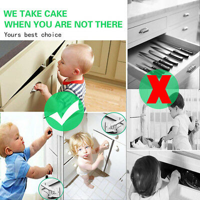 10x for Cupboard Cabinet Door Child Baby Safety Adjustable Locks Straps Latches
