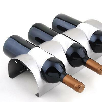 Stainless Steel Wall Mounted Bottle Red Wine Rack Metal Kitchen Display Holder