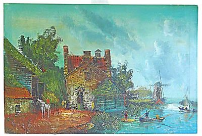 Antique Vintage Painting M Hoot Fort Farm Peasants River Windmill Boats Huge