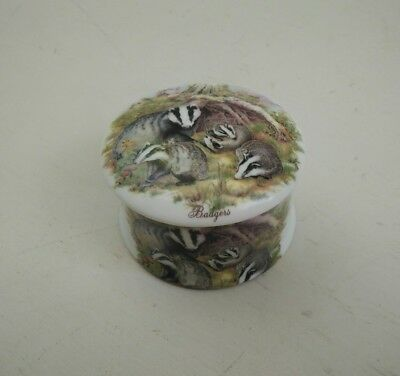Vintage Blue Waters English fine bone china trinket box Badgers porcelain small