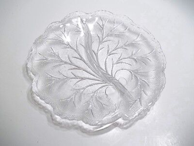 """Large Divided Leaf Shaped Serving Dish with Clear Etched Glass 10 1/4"""" x10"""" x1"""""""