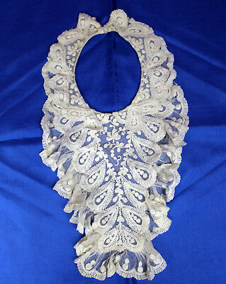 Beautiful Antique Victorian Off White Ruffled Lace BABE Baby or Doll Collar