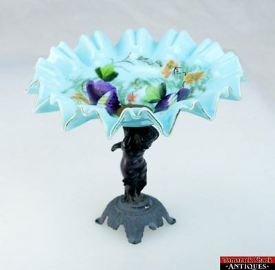 Victorian Bride's Bowl Hand Painted Floral Blue Milk Glass Bronze Putti Compote