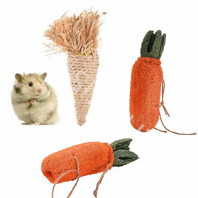 Pet Hamster Straw Carrot Teeth Grinding Chewing Toys For Hamster Rat Rabbit