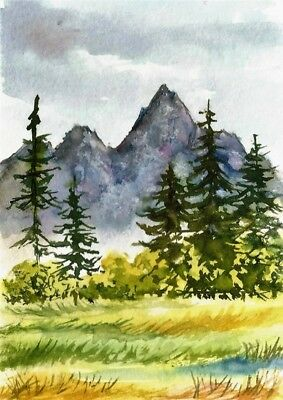 ACEO Mountain painting original Autumn Fall trees landscape watercolour art card