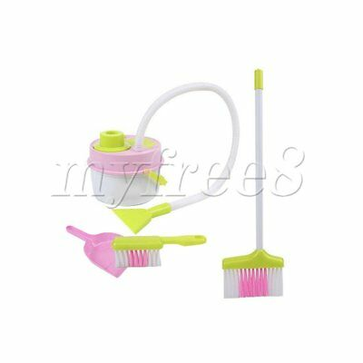 Kids Play House Cleaning Broom Brush W/ Vacuum Cleaner Dustpan Pretend Toy Set