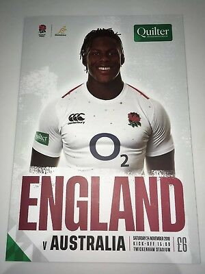 NEW QUILTER 2018 ENGLAND v AUSTRALIA Rugby Union Programme £6 24/11/2018