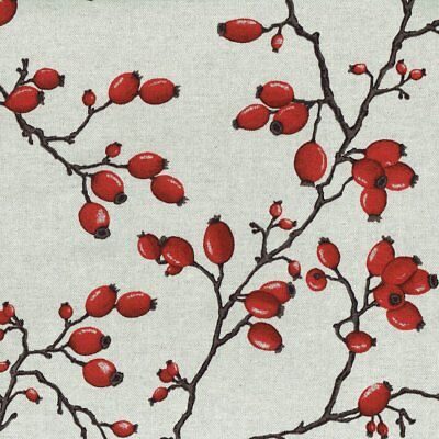 Textiles français Rose Hips fabric - rich ruby red fruits - 155 cm wide
