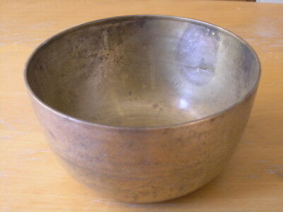 Antique Thai White Brass Copper Engraved Begging Bowl ? Gong Thanking Buddha SGD