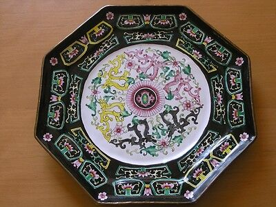 Antique Chinese Canton Enamel Cloisonne over Copper Octagonal Charger Dragons
