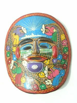 Vintage Mexican Talavera / Tlaquepaque Hand Made Hand Painted Pottery Story Mask