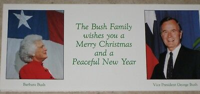 1986 George HW Bush CHRISTMAS CARD With Family VP to Ronald Reagan /Raised Seal