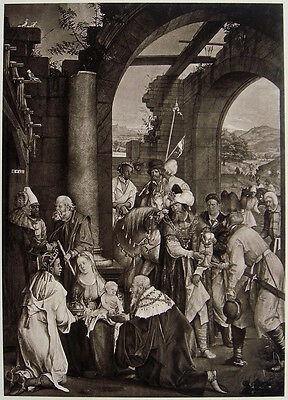 "50% SALE    Hans von Kulmbach 1800s Religious Print ""Adoration of the Magi"" COA"