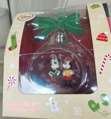 Disney Store Holiday Ornament Mickey & Minnie Mouse Christmas Tree 2016 carolers