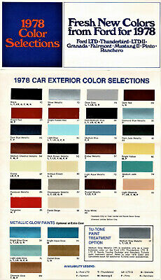 1978 Ford Colors Brochure w/Paint Chips Mustang II LTD Pinto Ranchero TBird +++