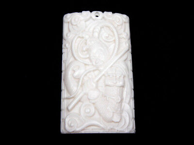 Solid Bone Highly Detailed Hand Carved Pendant Legendary Monkey King #12011807