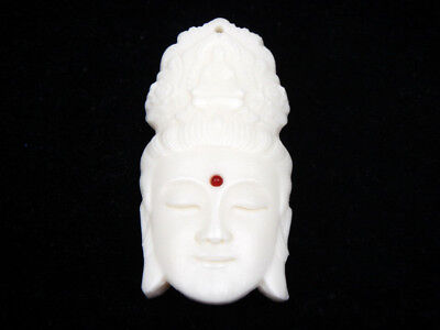 Solid Bone Highly Detailed Hand Carved Pendant Kwan-Yin Buddha Head #12011812