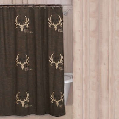 Bone Collector Shower Curtain Hooks Antler Logo Cabin Bath Accessories