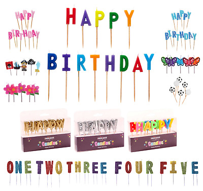 Happy Birthday PICK CAKE CANDLE SETS - Boy/Girl/Party/Multicoloured/Ages/Colours