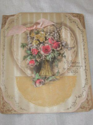 Vintage Valentine's Day Card 1930s Vase Pink Roses Fabric Bow Cellophane Doily