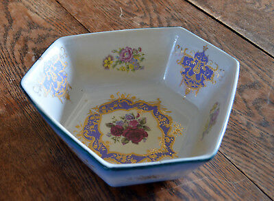 Vintage pottery six-sided irregular hexagon bowl - blue/red roses & tazza stand
