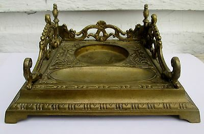 Vintage Antique Ornate Cast Brass Inkwell Stand