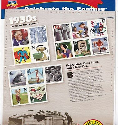 Us Scott #3185 1998 32 Cents Celebrate The Century/1930's 15 Stamp  Sheet Mnh